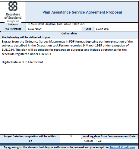 A screenshot of the Plans Assistance Service online form.