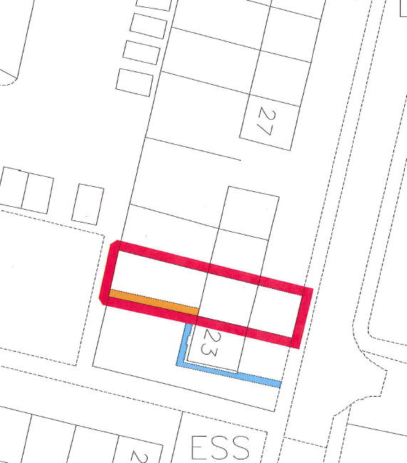 A red edge on the cadastral map showing the registered extent of a plot.